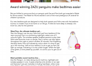 Award winning ZAZU penguins make bedtimes easier