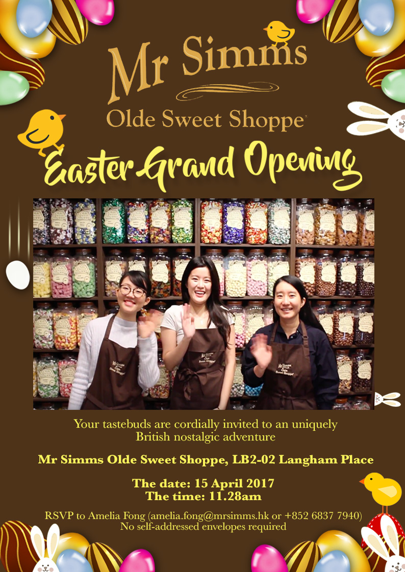Mr Simms Olde Sweet Shoppe Langham Place Easter Grand Opening Invite