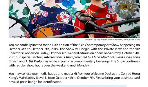 Opens tomorrow, your Interview Opportunity at the Asia Contemporary Art Show